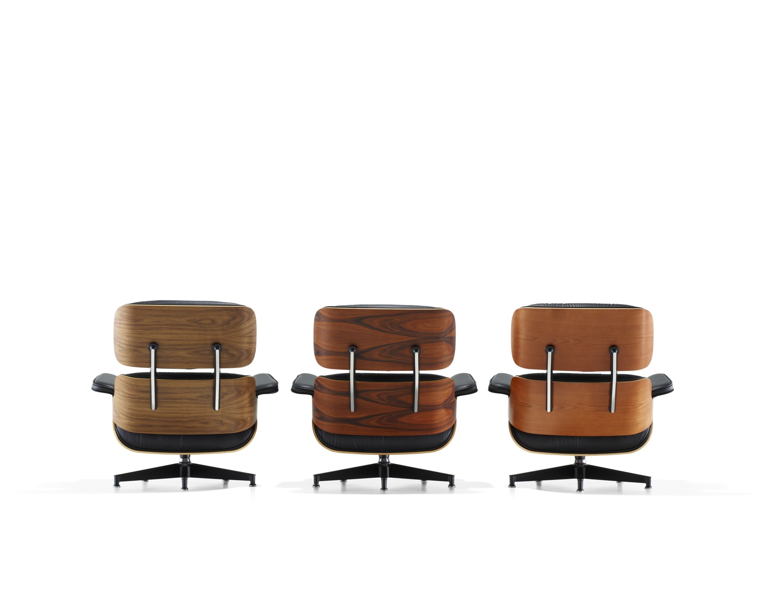 Eames Lounge Chairs in different veneers. Image © 2016 Herman Miller, Inc.