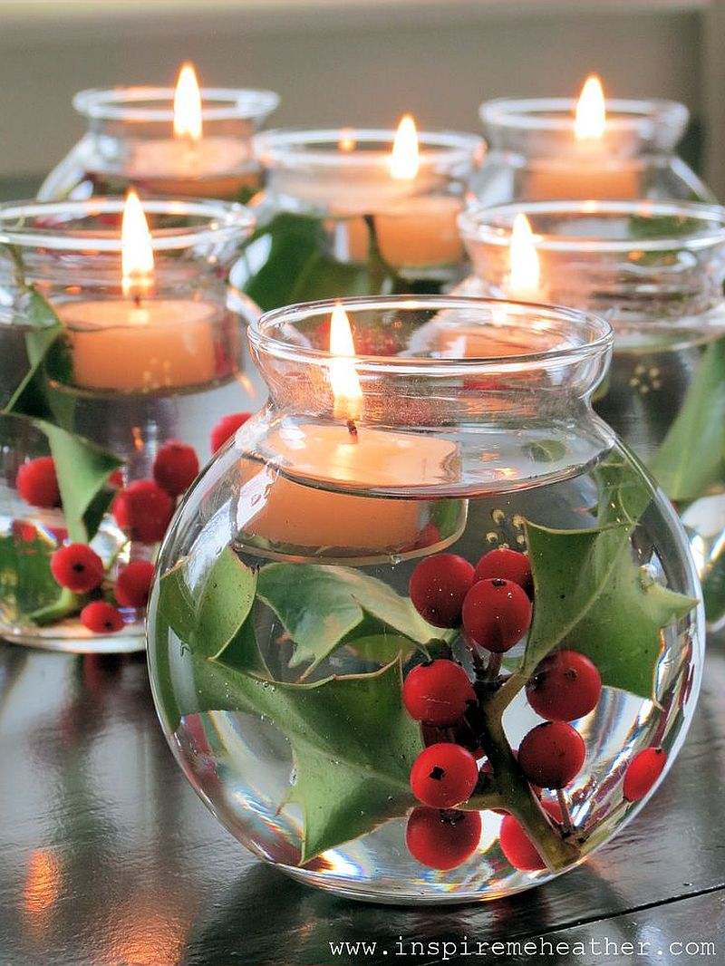 Easy holiday candle DIY idea {From: Inspire me Heather]