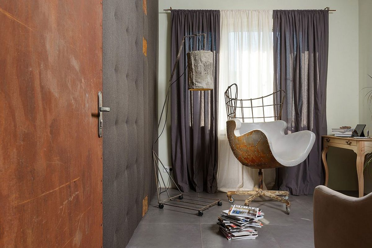 Eclectic decor and tufted wall for the bedroom