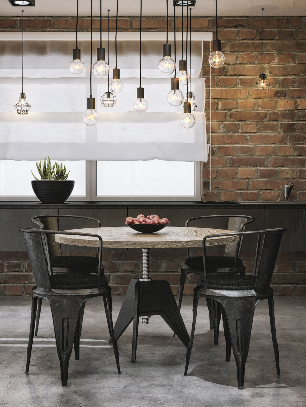 Edison bulbs bring classic industrial charm to the modern dining room