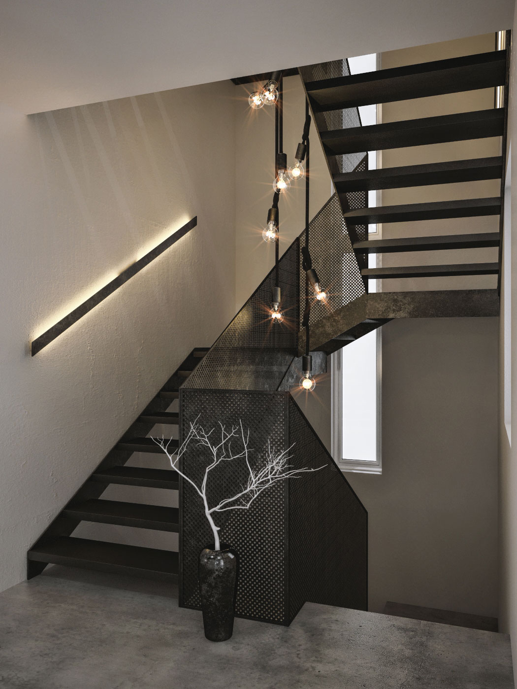 Elegant Edison bulb lighting for the stairway coupled with LED strips