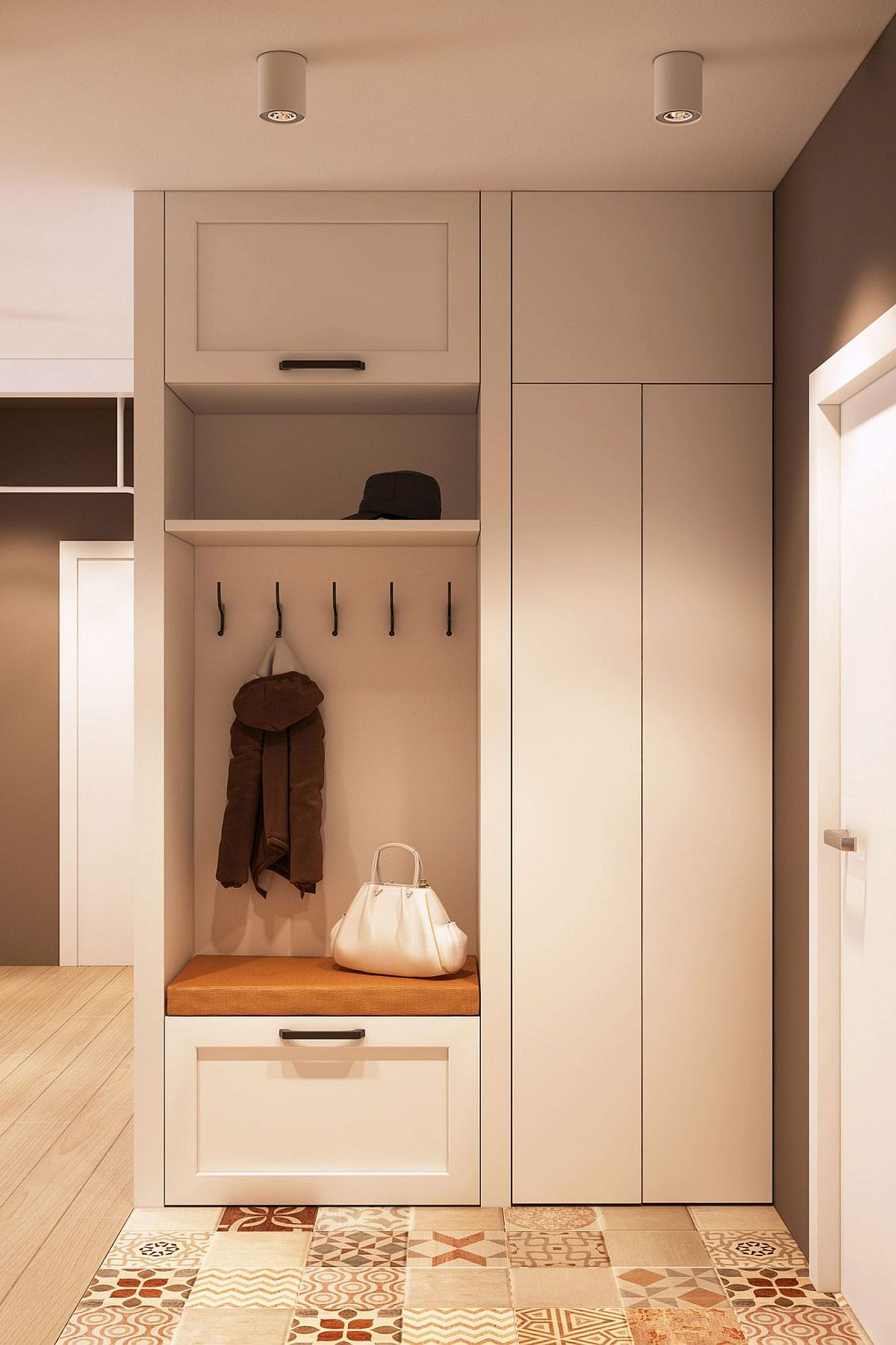 Entrance storage unit and bench for your shoes and coats