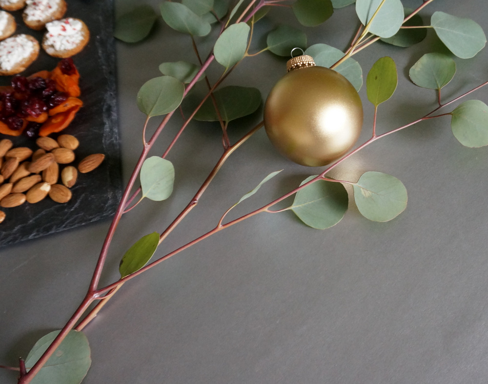 Eucalyptus and a gold ornament