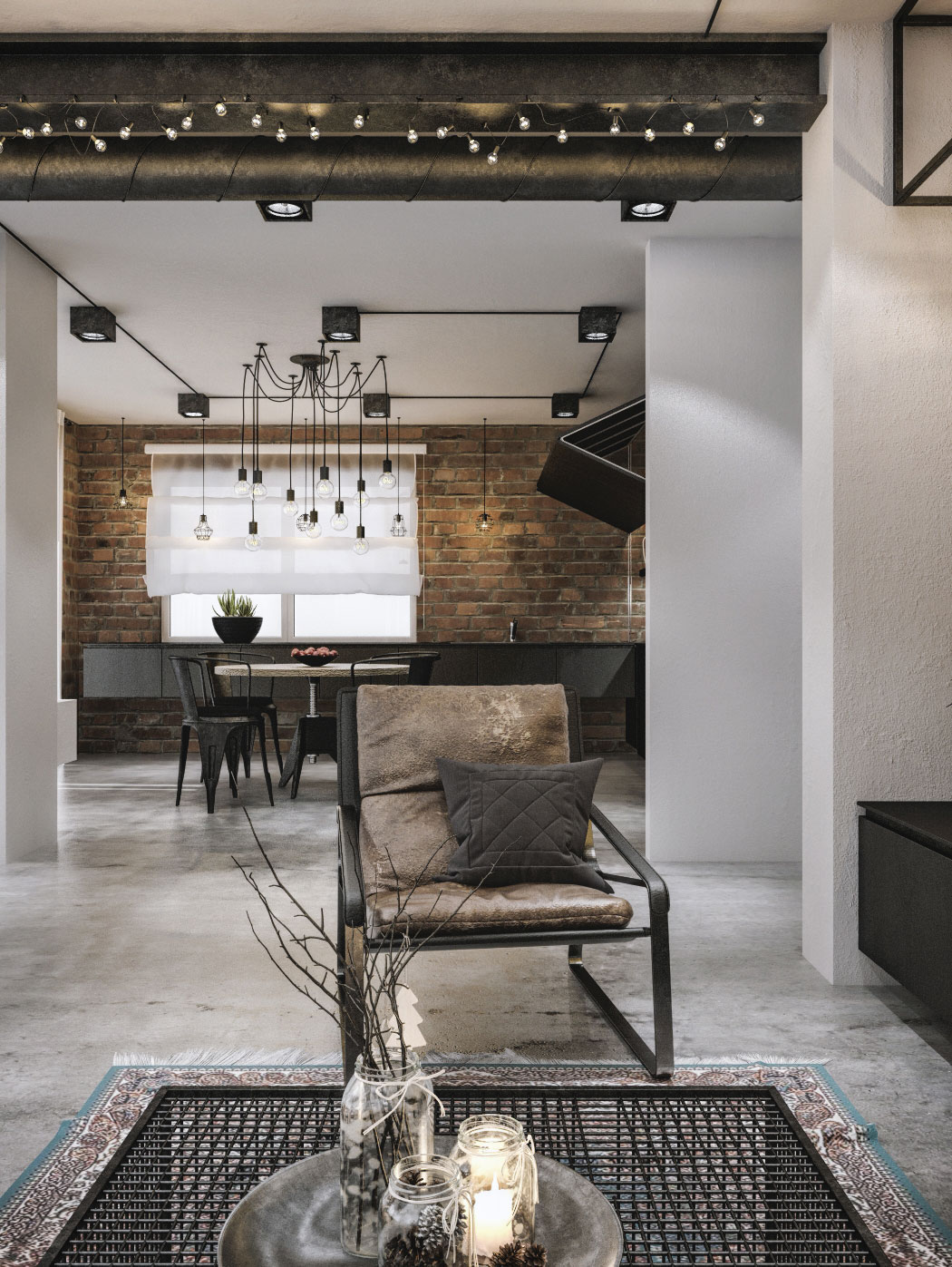 industrial loft lighting. Plain Industrial View In Gallery Exposed Brick Walls And Edison Bulb Lighting For The  Industrial Dining Room Intended Industrial Loft Lighting R
