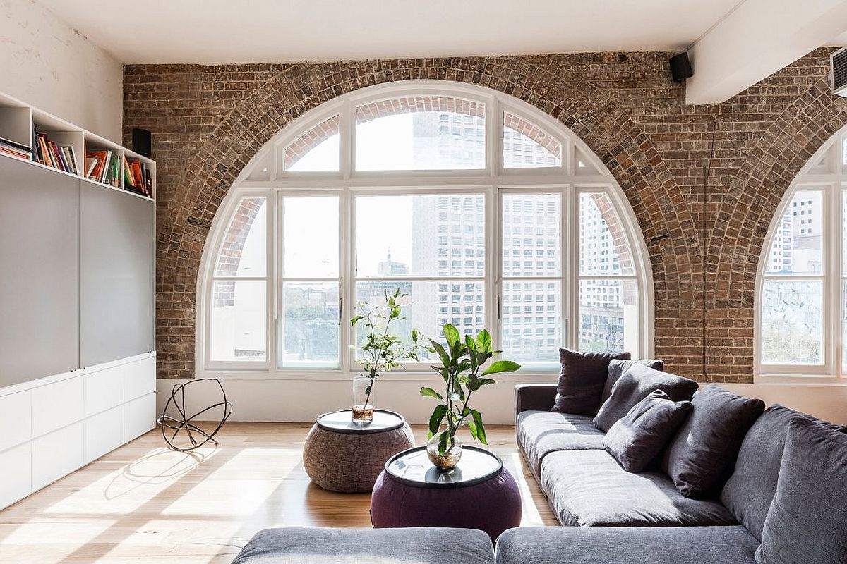 Exposed brick walls of the renovated Aussie apartment