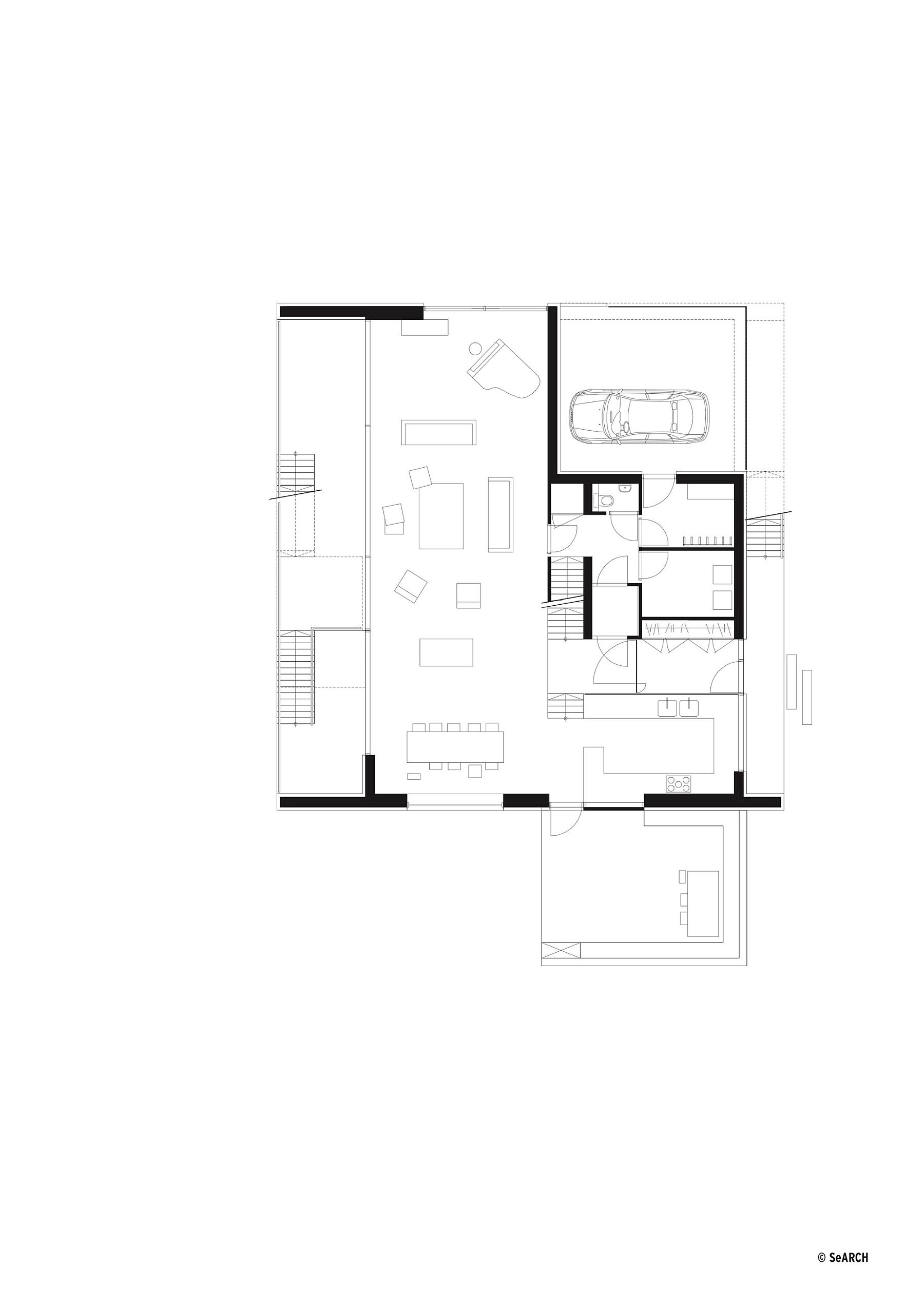 Floor plan of living area and parking zone