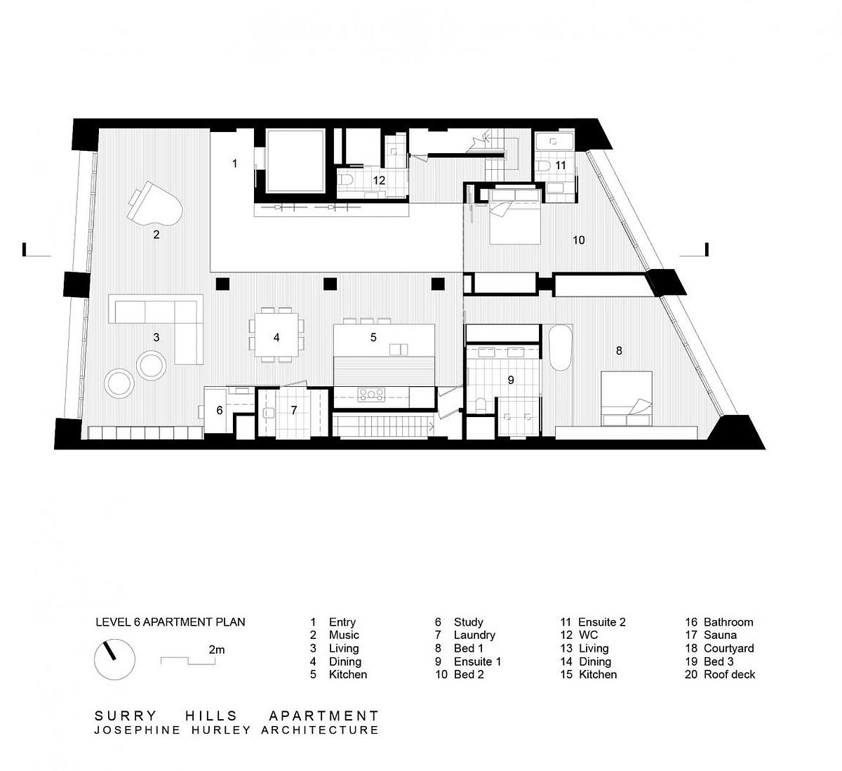 Floor plan of the lower level of the Surry Hills Apartment