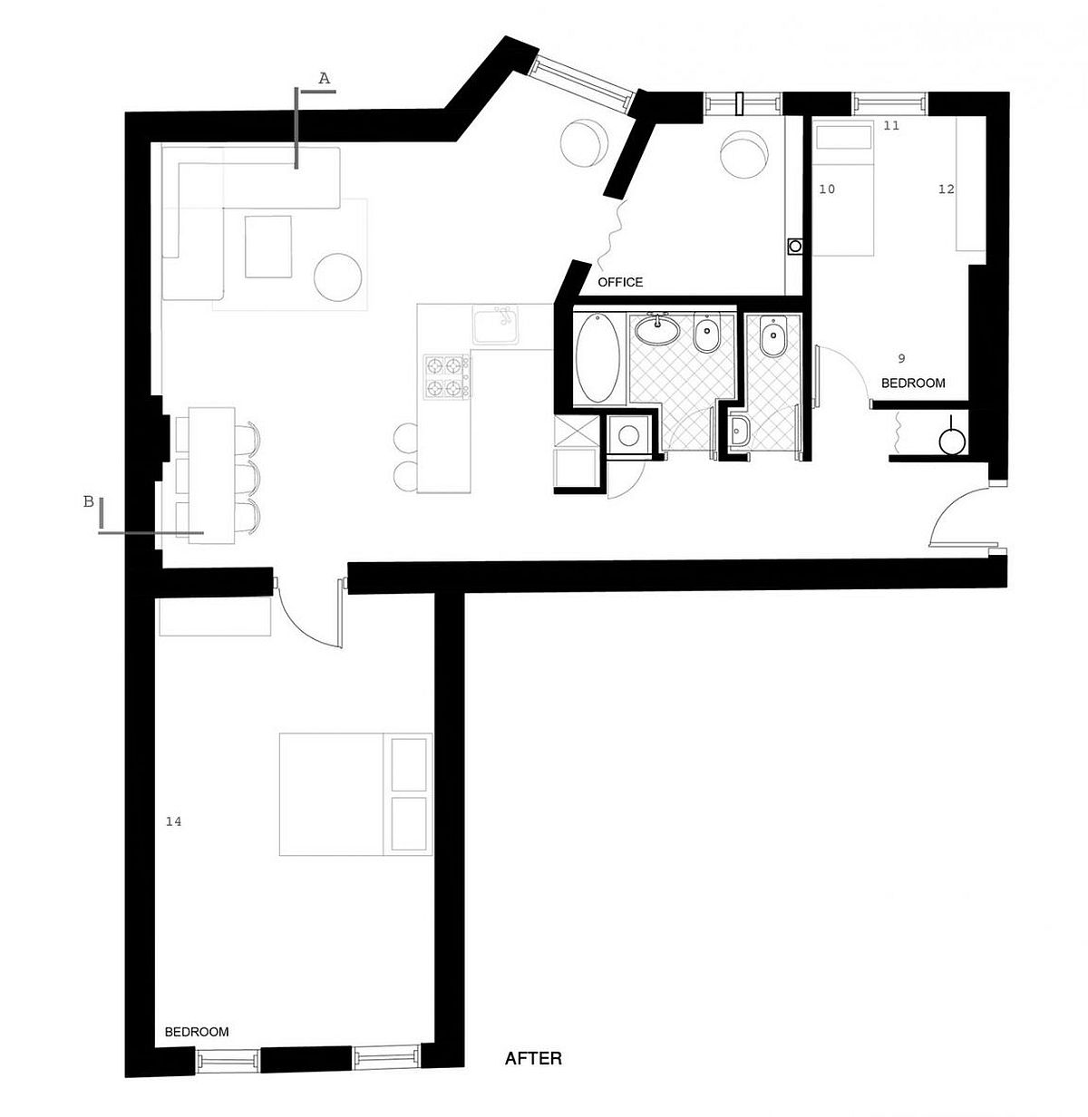 Floor plan pf the Berlin house after renovation