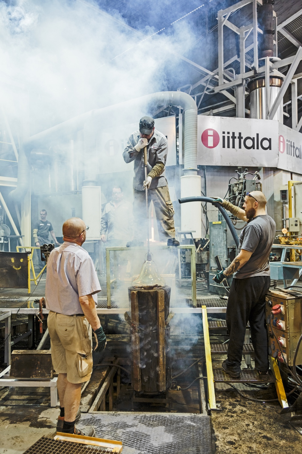 Glass-blowing at the Iittala factory.