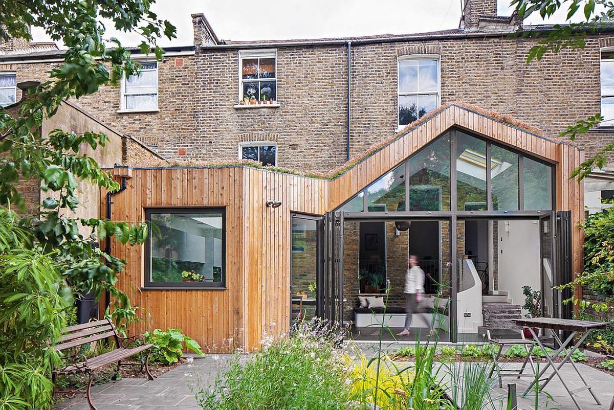 Glazed timber clad extension of the classic London home