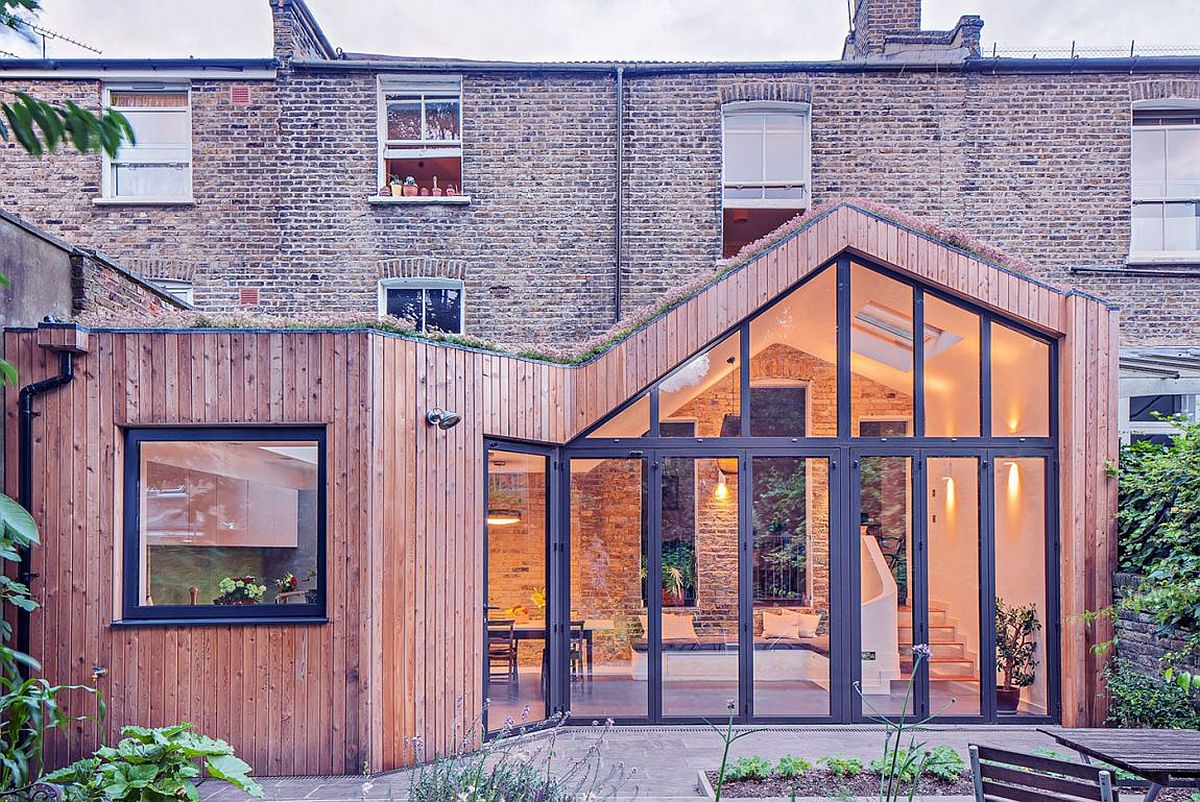 Glazed wooden extension of Victorian home in London