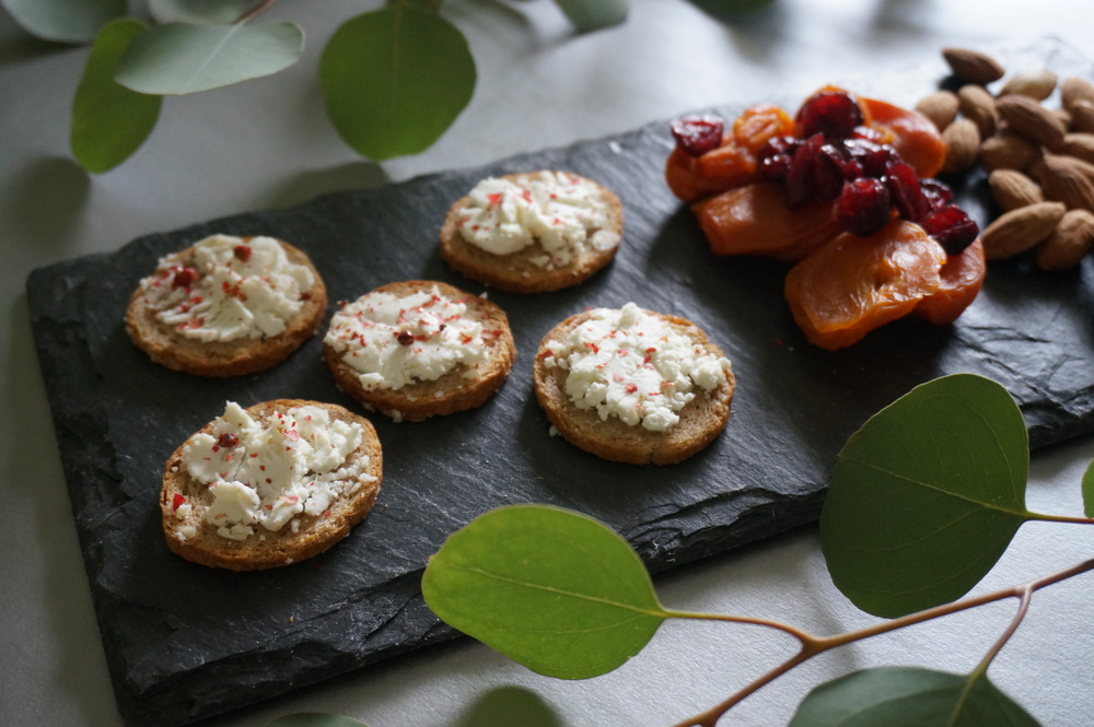 Goat cheese and pink peppercorn