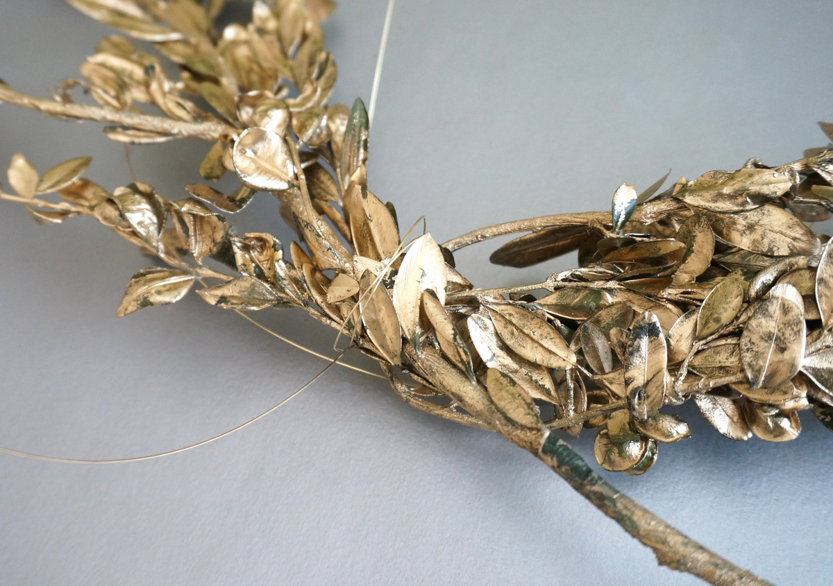 Gold floral wire holds it all together