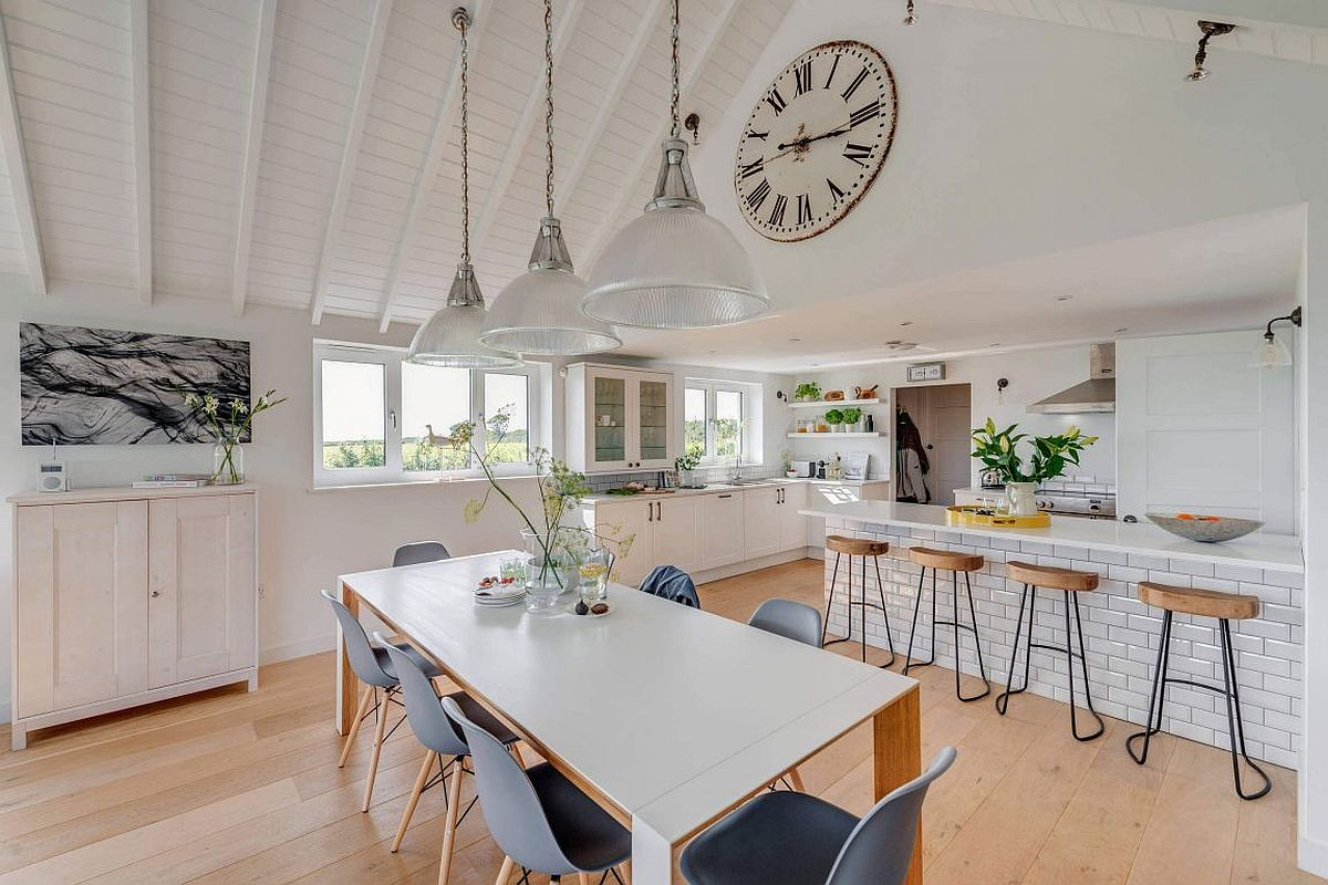 Gorgeous coastal style kitchen and dining room in white