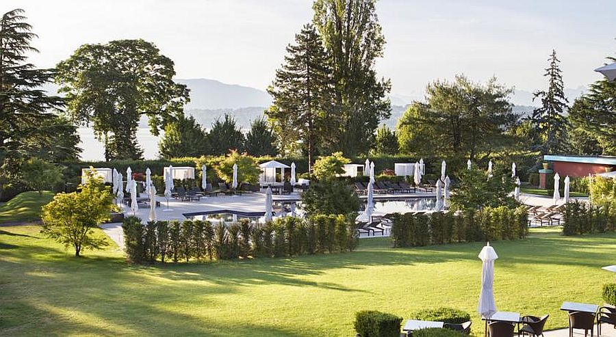 Gorgeous garden surrounds the relaxing resort and spa in Geneva