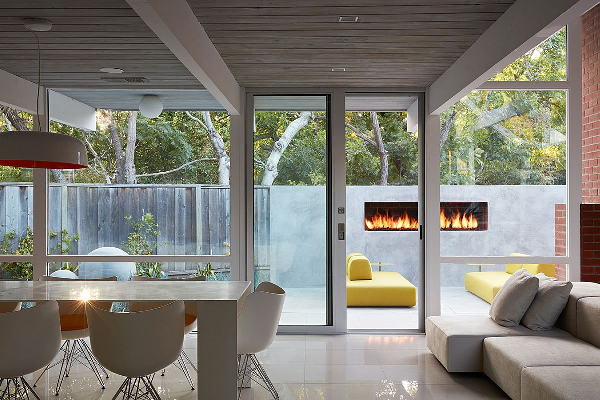 Gorgeous outdoor fireplace becomes a part of the interior