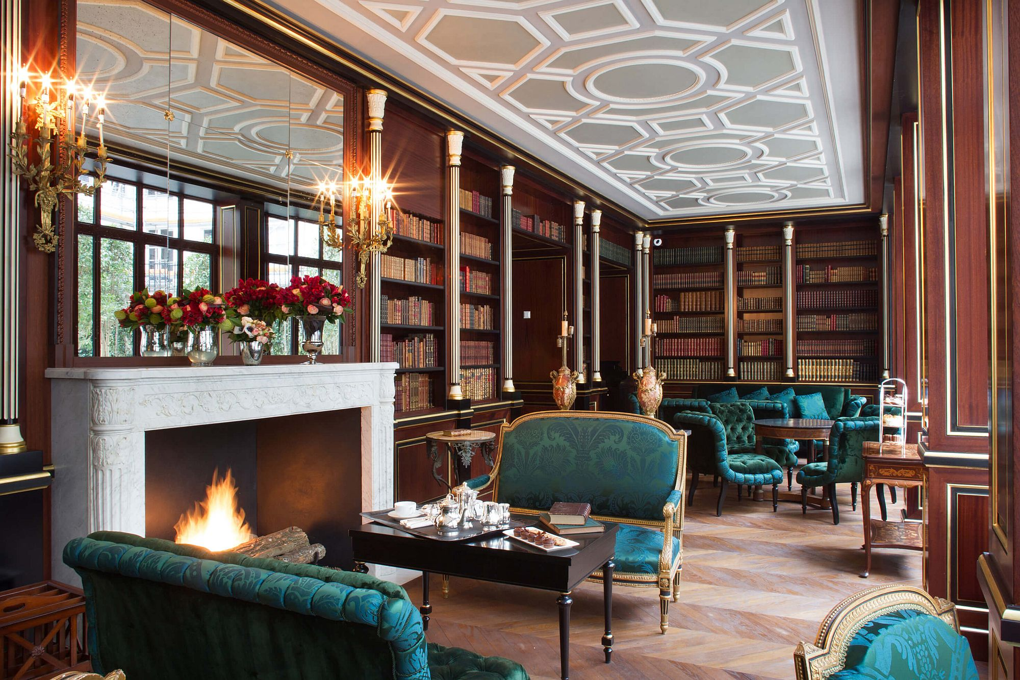 Grand library at La Réserve Paris Hotel and Spa