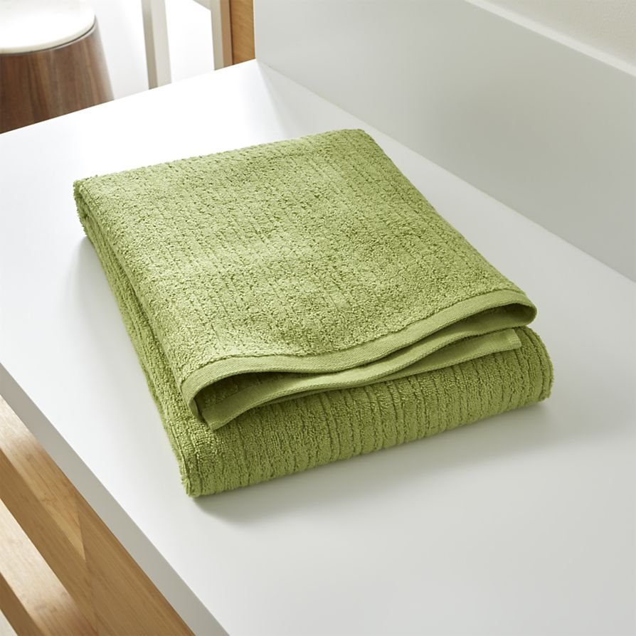 Green bath towel from Crate & Barrel