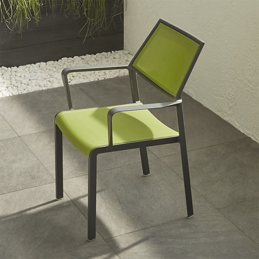 Green outdoor dining chair from Crate & Barrel