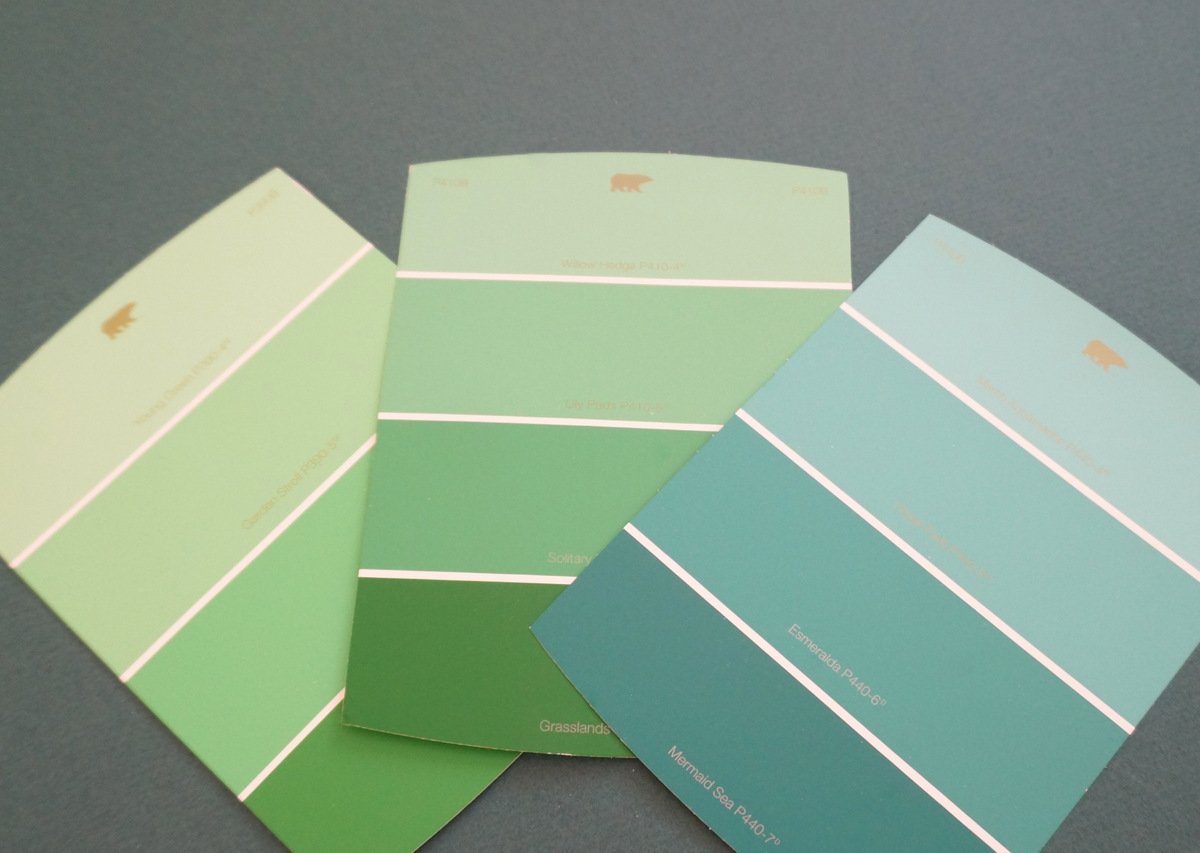 Green paint sample cards