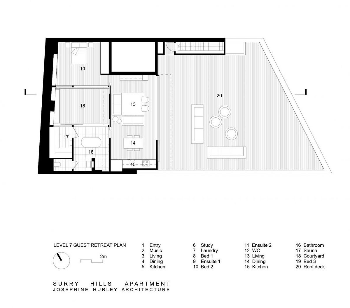 Guest level floor plan of renovated Aussie apartment