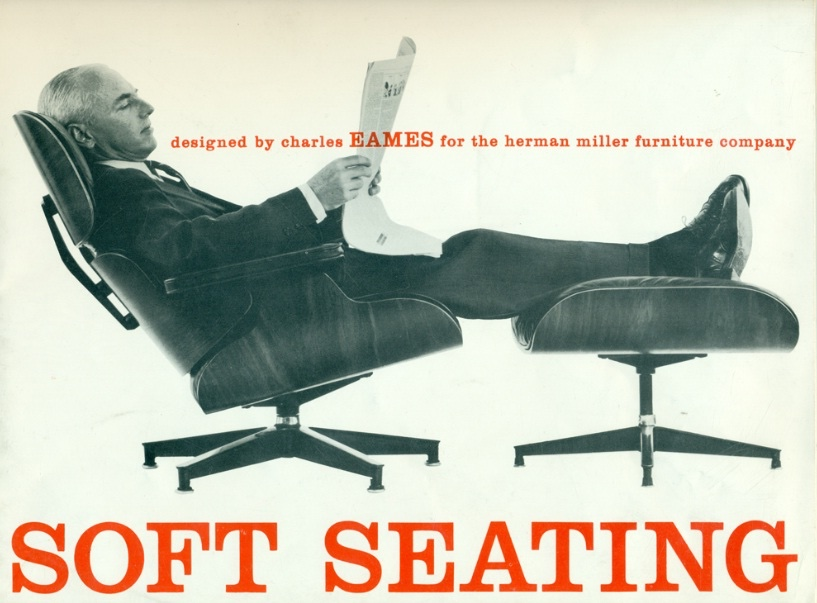 A Herman Miller advertisement for the Eames Lounge Chair and Ottoman. Image via the World Office Forum Eames Pinterest board (Source).