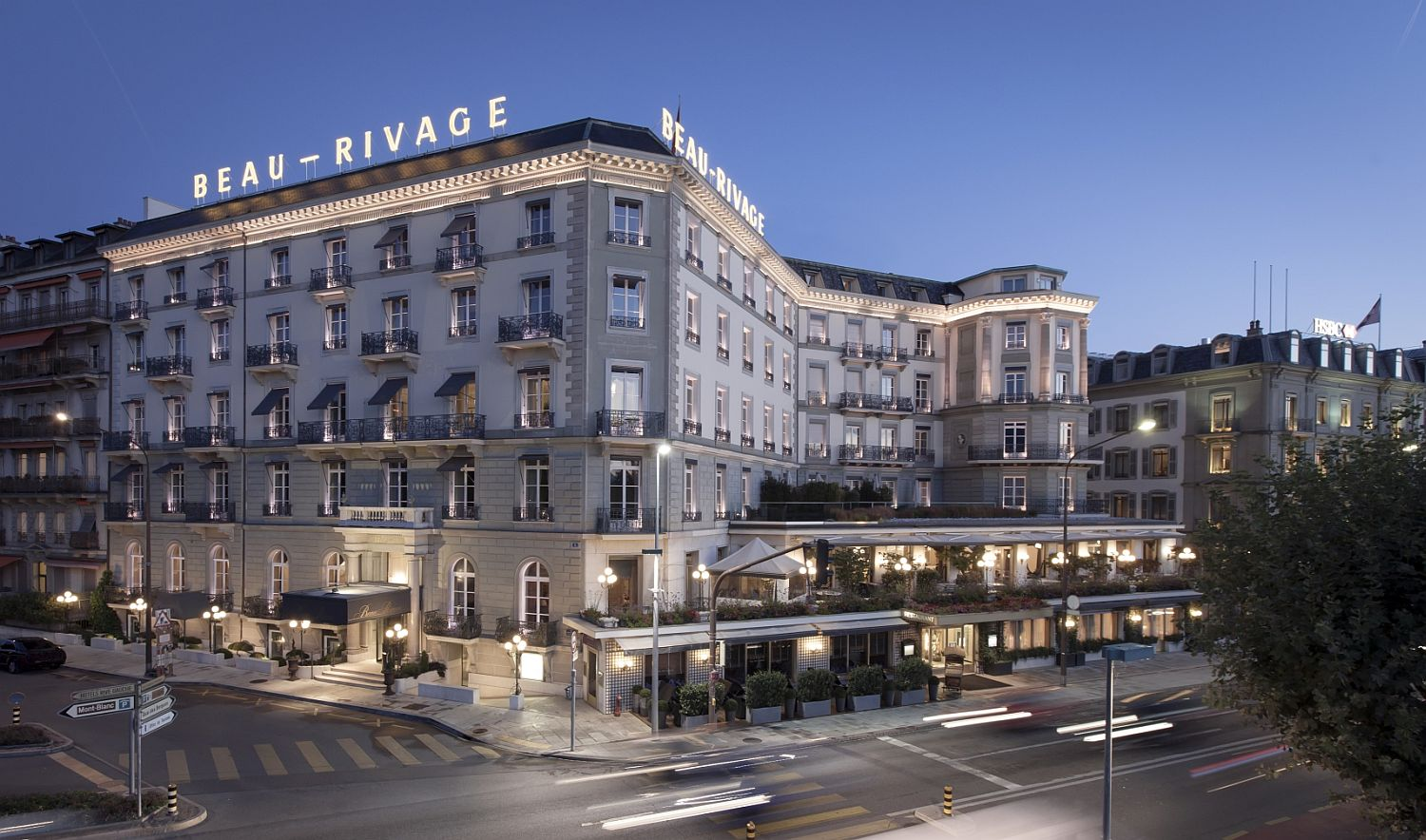 Hotel Beau Rivage after sunset