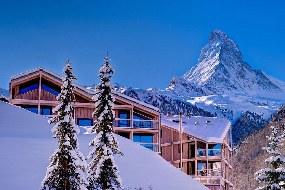 Hotel Matterhorn Focus nestled among snow-clad alps
