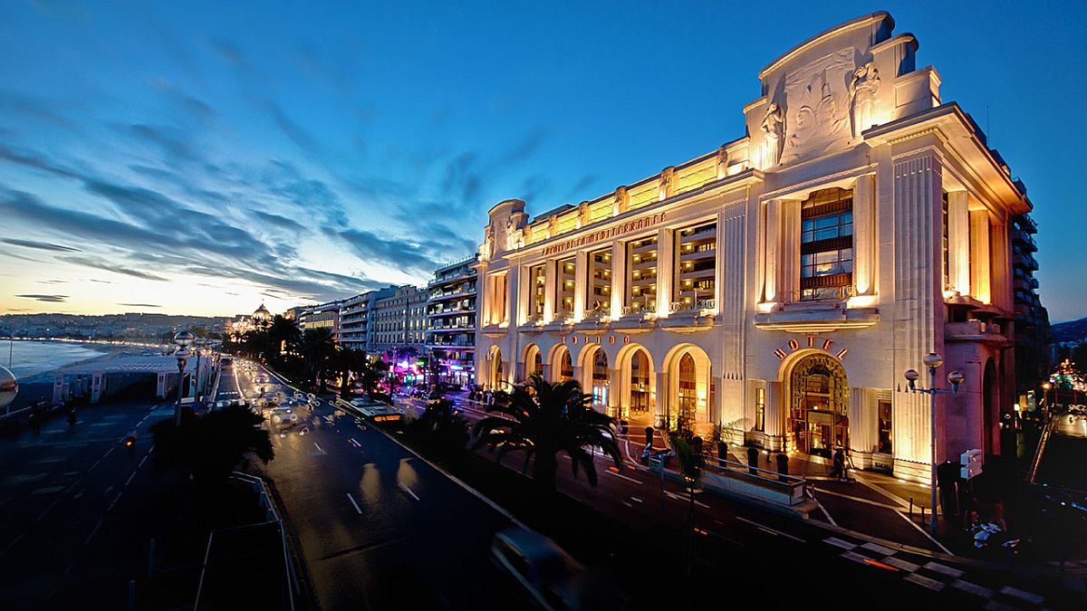 Iconic facade of Hyatt Regency Nice Palais de la Méditerranée