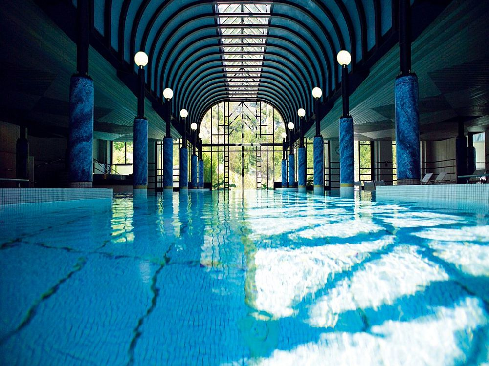 Indoor swimming pool at Victoria-Jungfrau Grand Hotel and Spa