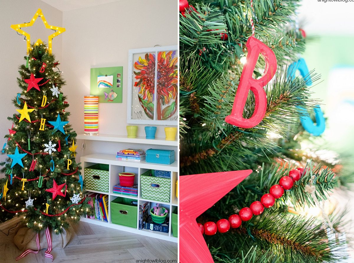 Kids Christmas tree with alphabets as ornaments [From: A Bight Owl Blog]