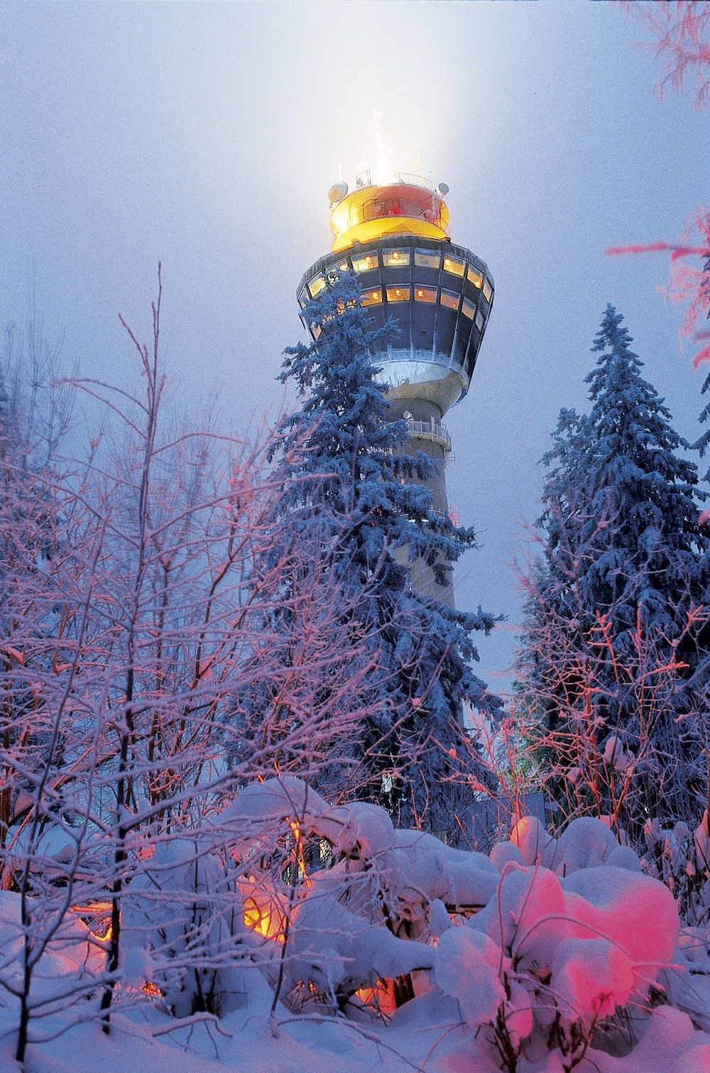 The Kuopio Puijo Tower in eastern Finland is the first of its kind in the Nordic regions. This observation tower has that staple of all such towers: a revolving restaurant. Image © Visit Finland.