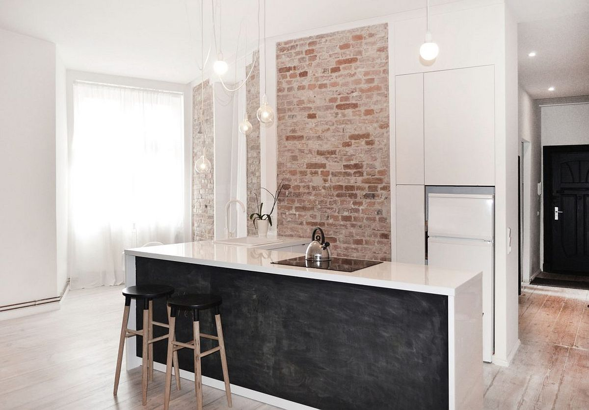L-shaped kitchen island for the small kitchen in white