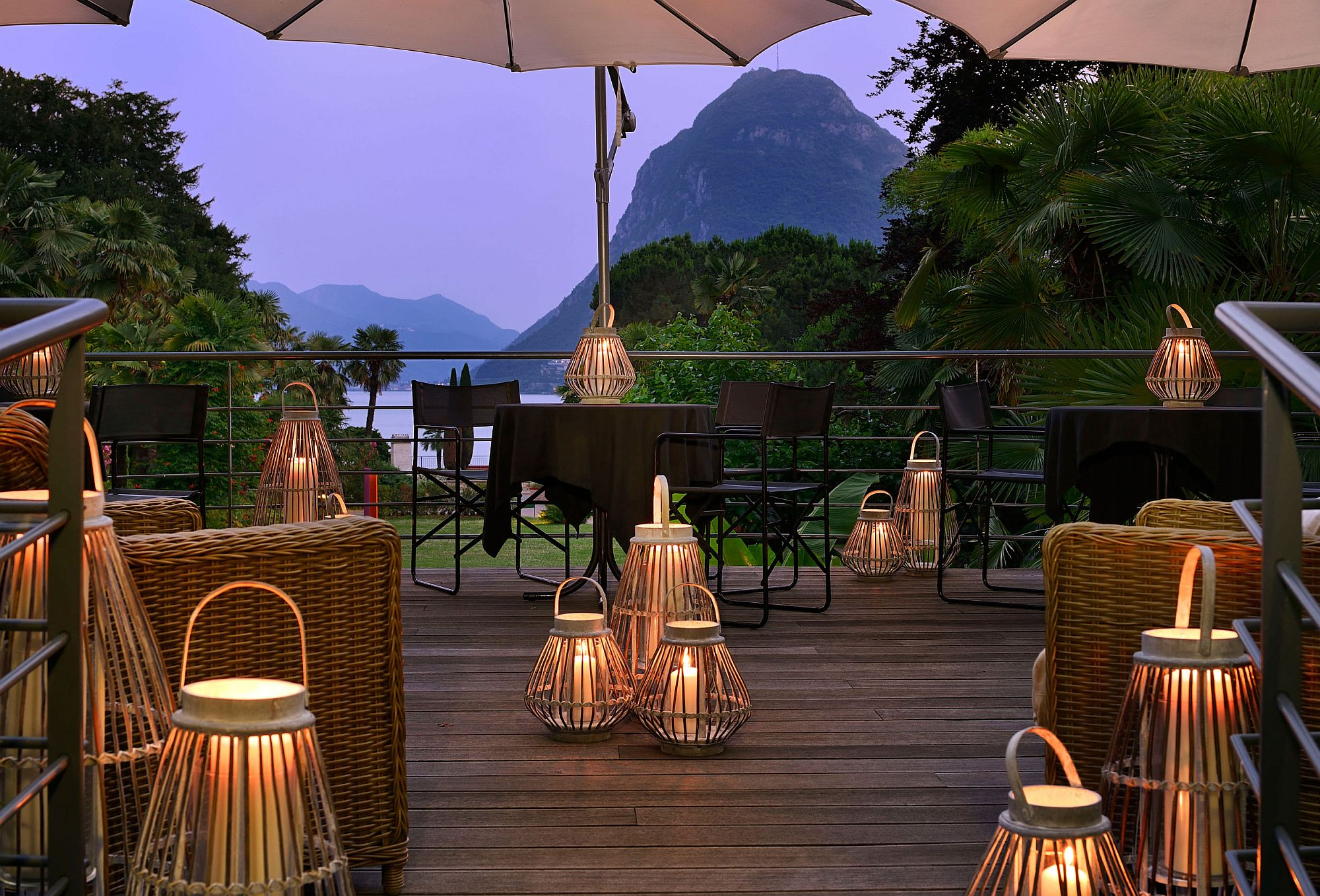 Lake Lugano and a tropical garden surrond the stunning hotel