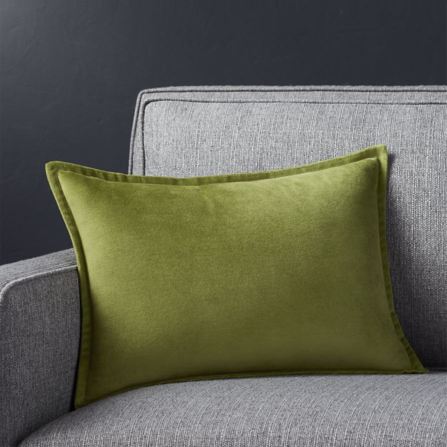 Leaf green pillow from Crate & Barrel
