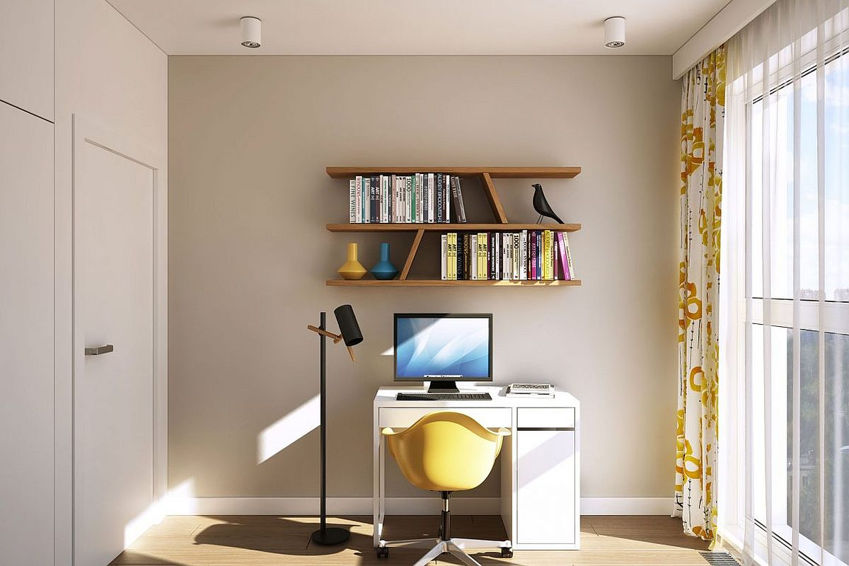 Light-filled and ergonomic modern workspace with floating shelves