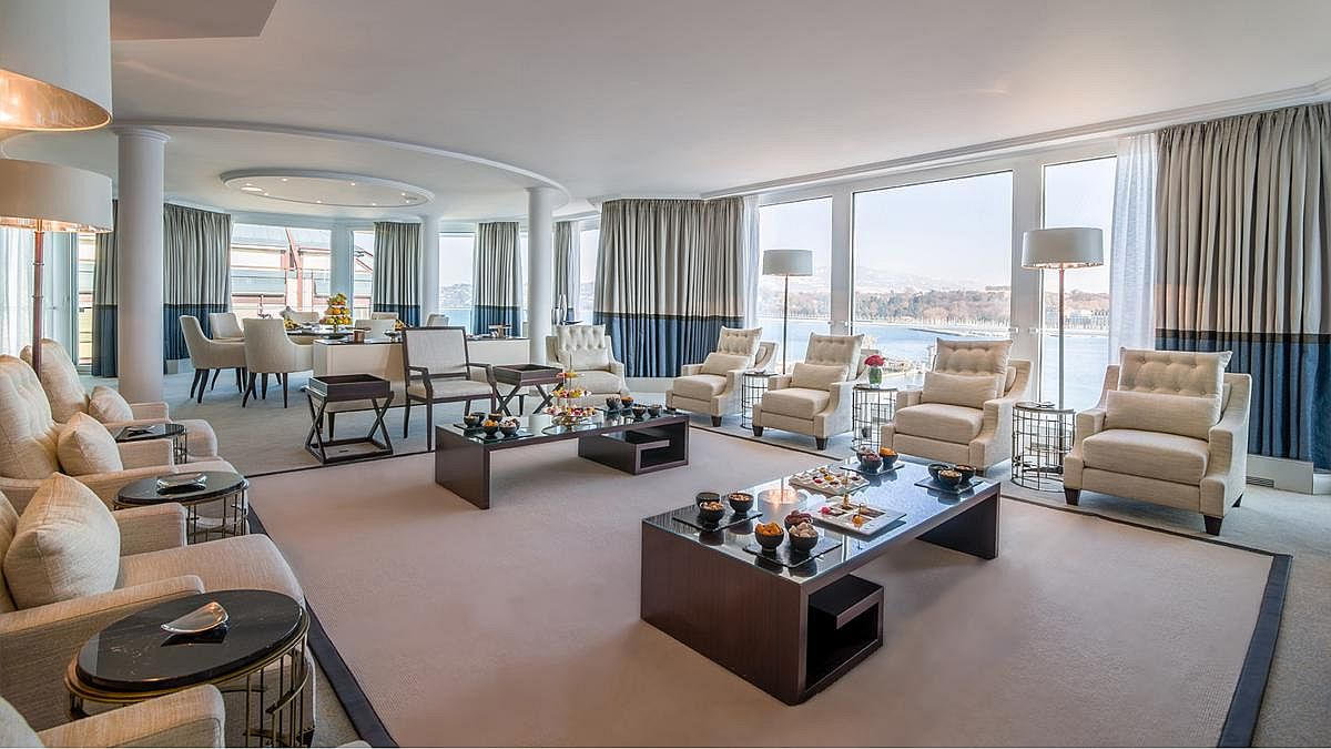 Look inside the spacious and lavish Bella Vista Room at the Grand Hotel Kempinski Geneva