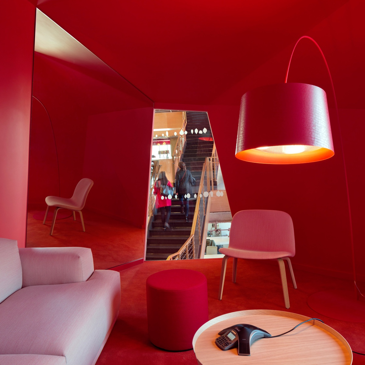 Red on red in this Manhattan office by Clive Wilkinson Architects.