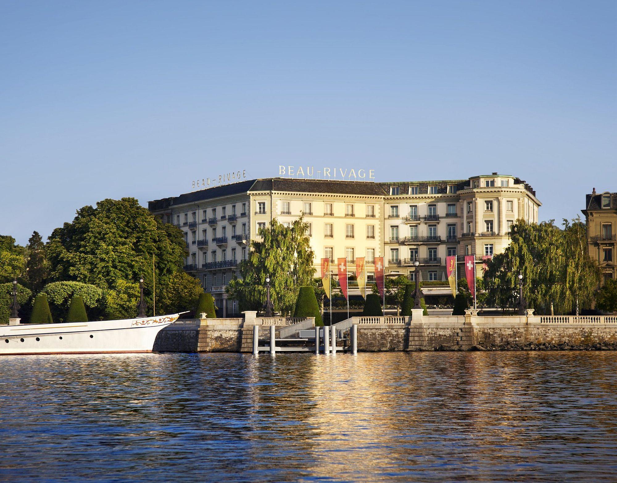 Main facade of the Hotel Beau Rivage in Geneva