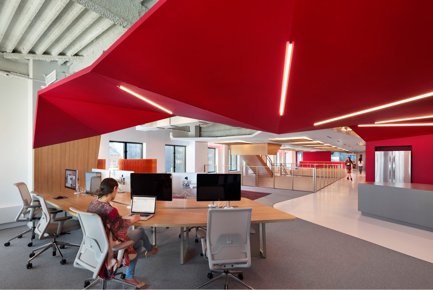 Red ceiling in Manhattan office by Clive Wilkinson Architects.