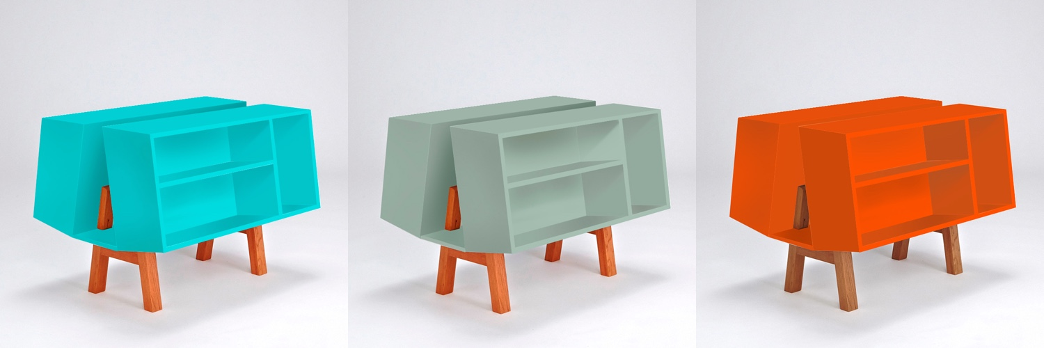 The Isokon Penguin Donkey Mark 2 in limited edition colours. L to R: Pantone 318c (turquoise), 5655c (moss green) and 021c (orange).