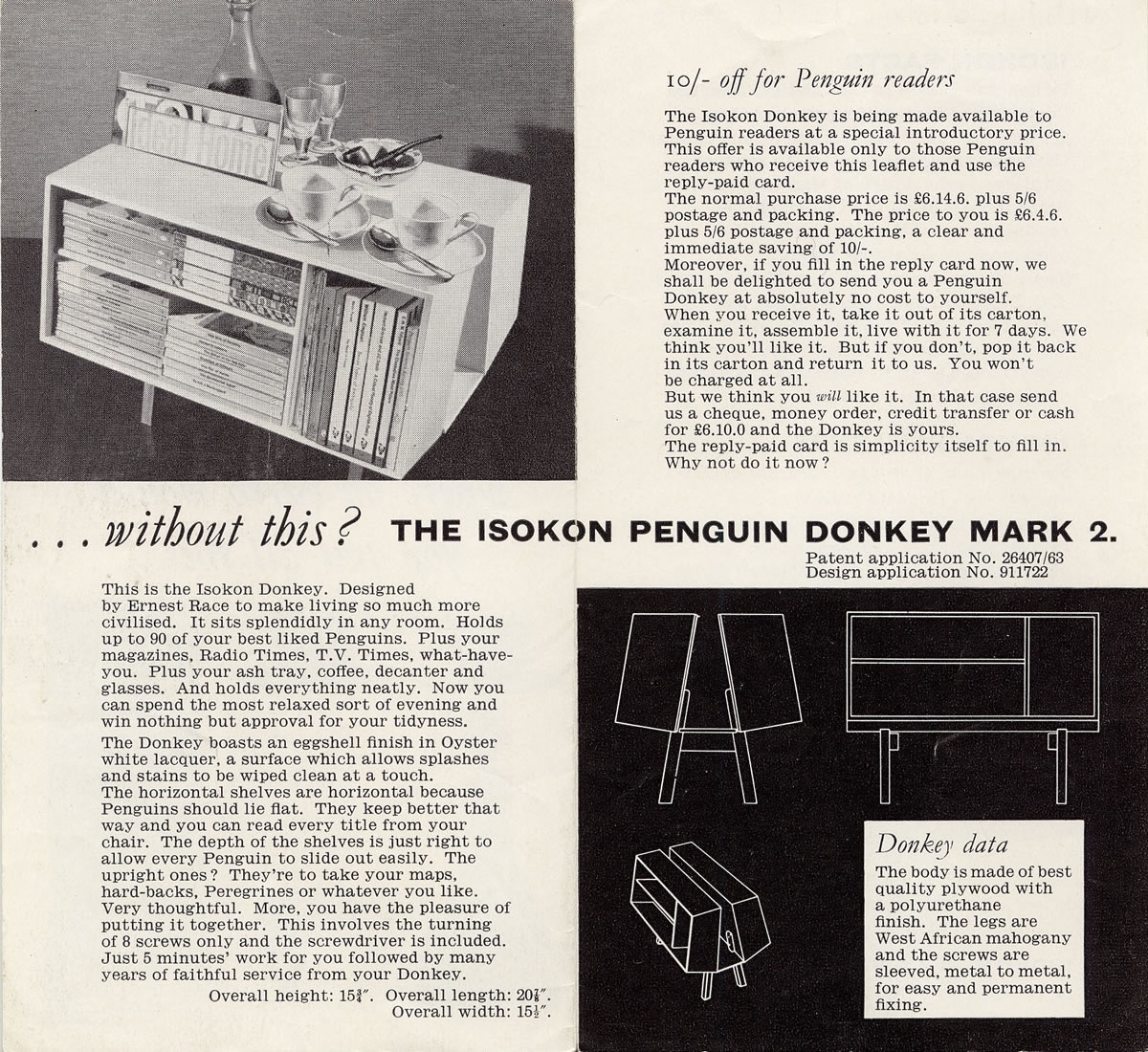 Isokon Penguin Donkey Mark 2 promotional leaflet.