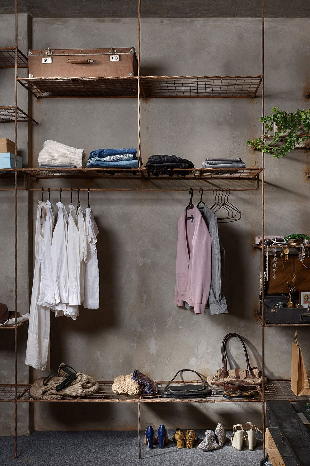 Metallic frame and iron rods create a cool, industrial wardrobe
