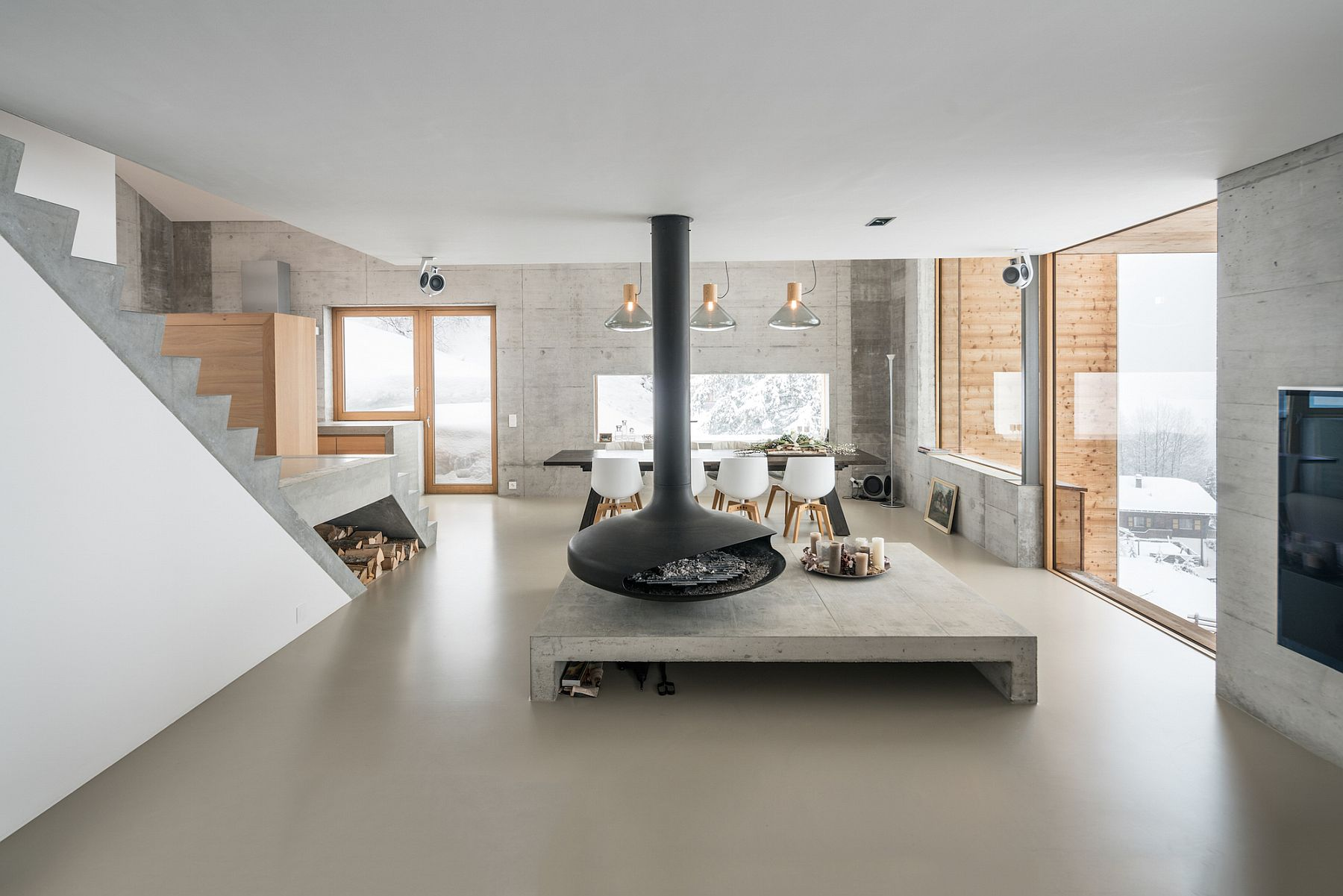 Minimal and contemporary interior of contemporary chalet in Anzère