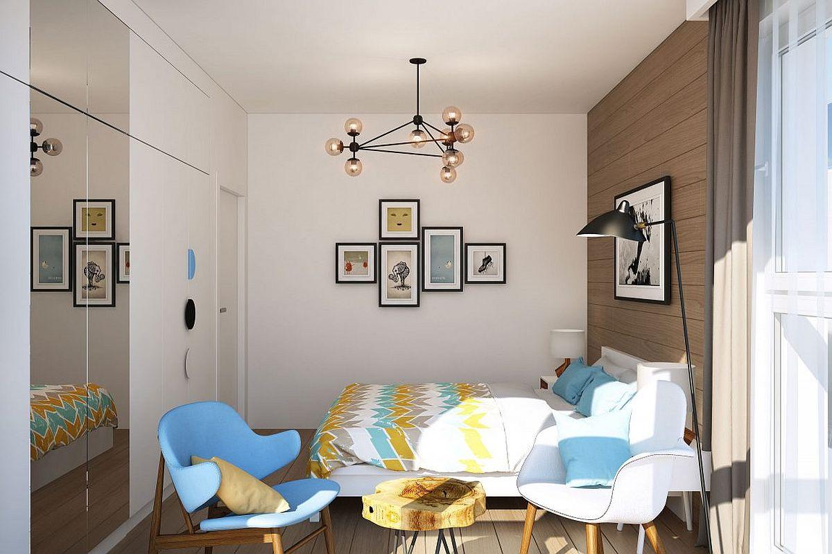Mirrrored wardrobe doors add visual space to the bedroom
