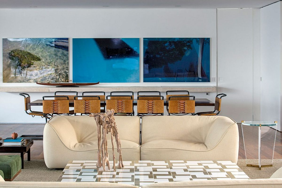 Modern art work inspired by the ocean inside smart Brazilian beach house
