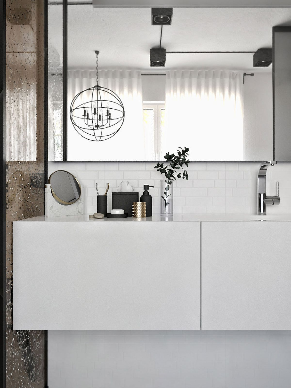 Modern bathroom floating vanity in white