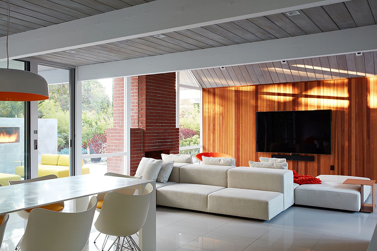 Modern living room with wood siding and a breezy ambiance