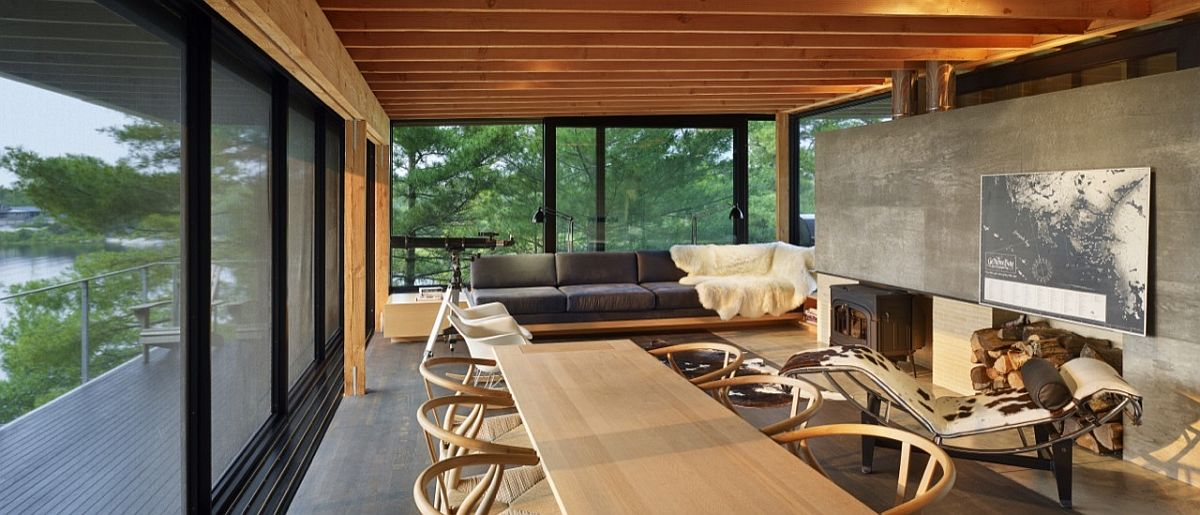Open living area and dining room of the island retreat