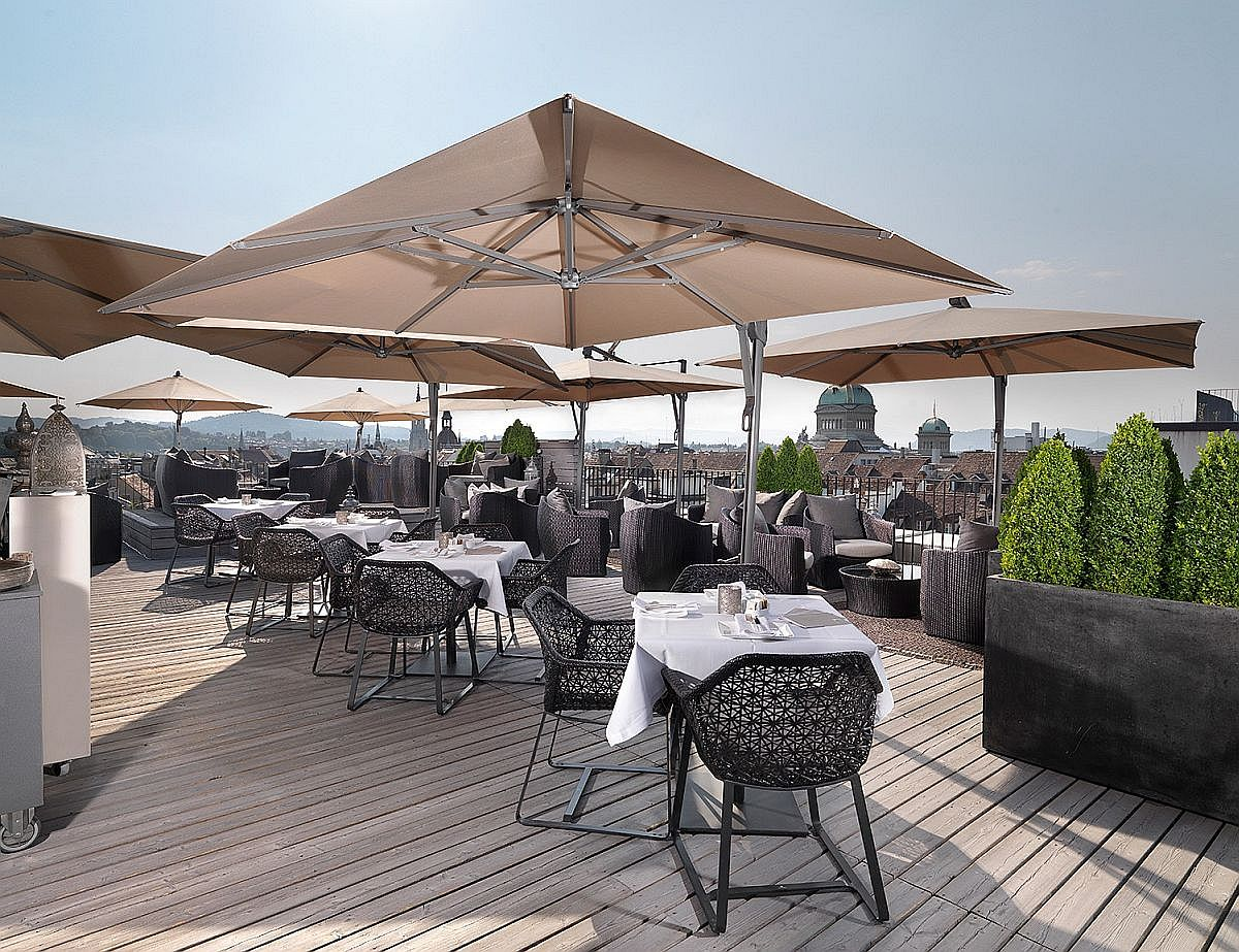 Sky terrace at the luxurious hotel in Bern